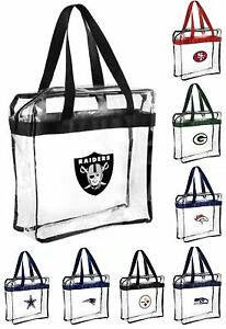 NFL,NBA.MLB Team Clear Zipper Messenger Tote Bag (Stadium Security approved )