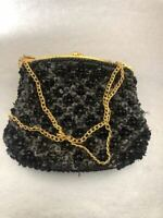 Vintage 50s Rockabilly Beaded Evening Black Gold Purse Satchel Bag Handbag  VTG