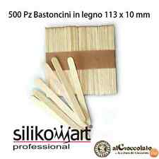 SILIKOMART SET 500 PZ BASTONCINI STECCO IN LEGNO 113X10 H 2 MM GELATI BASTONI
