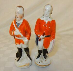 Pair Small Staffordshire Military Figures Naïve. Male.
