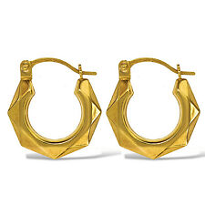 9CT GOLD HOOP EARRINGS YELLOW 14MM ROUND MULTI FACETED CREOLE TUBE GYPSY BOXED