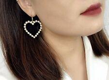 14K Gold Plated Heart Hoop Pearl Dangle Drop Fashion Earrings CBN