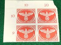 Germany 1942 Feldpost Sc#mq1a plate block Of 4 mnh