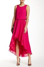 Haute Hippie Pink French Kiss  Cowl Back Hi Low Silk Dress  $445 size S