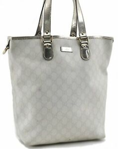 Authentic GUCCI Shoulder Tote Bag GG PVC Leather 189896 White Glod C8982