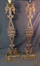 1930 paire grands pieds  lampe fer forgé 90cm12kg fleur de lys église vintage