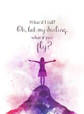 ART PRINT What If I Fall? Quote, Inspirational, Gift, Wall Art, Nursery, Decor