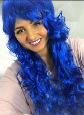 LONG BLUE CURLY WAVY BRIGHT FULL WIG CHEAP HALLOWEEN FANCY DRESS FASHION LADIES