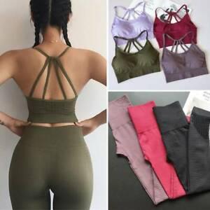 Womens Sports Suit Seamless Yoga Bra&Pants Fitness Tops Leggings Gym Sportwear
