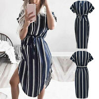 Women Maternity Pregnancy Summer Casual Beach Stripe Short Sleeve Dress Clothes