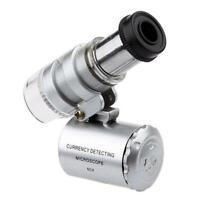 1 Stück 60 X Mini Pocket Mikroskop Lupen Juwelier Lupe Neue~ & Pro LED UV-L U2G1