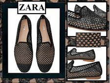 Zara Women (9/40) Black Cut-Outs Flat Shoes wFlat Toes Cover Size 9us 40eur