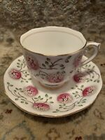 Roslyn Fine Bone China England Tea Cup & Saucer 2pc Set~Flower Ball~Lovely