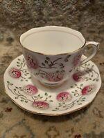 Roslyn Fine Bone China England Tea Cup & Saucer 2pc Set~Flower Ball~Lovely