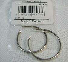 "Authentic Pandora Designer Sterling Silver 1"" Hoop Earrings 290650 Discontinued"