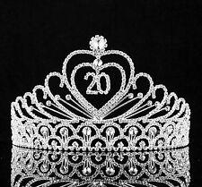 20-Year-Old Birthday Party Austrian Rhineston Tiara Crown Hair Combs T814 Silver