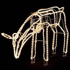 Animated Large LED Warm White 3D Deer Doe Eating Christmas Rope Light Blink 24V