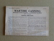 """Excellent! Michigan State College """"Wartime Canning"""" Brochure from 1943"""