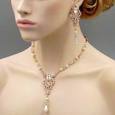 Pearl Crystal Necklace Earrings Wedding Jewelry Set 00486 Handmade ROSE GOLD GP
