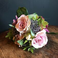 Tied Mauve Pink Rose Bouquet, Leaves & Greenery Artificial Faux Silk Flowers