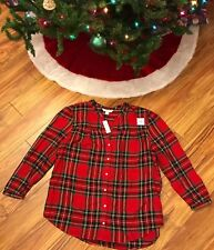 NWT Old Navy Women's Holiday Plaid Flannel Tunic Length Blouse Size XL
