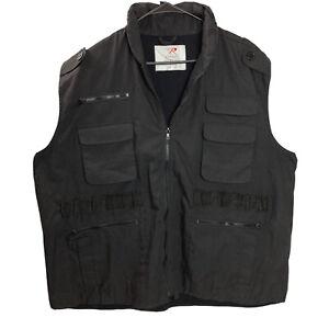 Rothco 7557 Black Ranger Tactical Vest 3XL XXXL Pockets Stowaway Hood