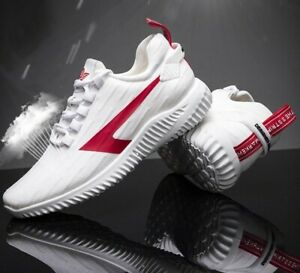 New Men White Red Mesh Runners Trainers sneaker sports laces shoes UK 6 7 8 9 10