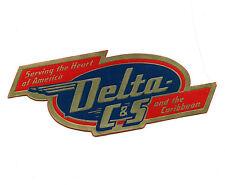 Vintage Airline Luggage Label DELTA C&S & the Caribbean die-cut C & S