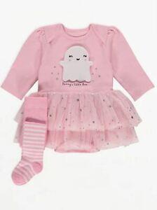 Baby Girls Halloween Pink Ghost Tutu Bodysuit Tights Outfit Romper George Cute