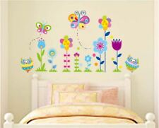 US STOCK Wall Sticker Owls Flower Butterfly Kids Baby Children's Room deco