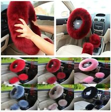 3pcs/Set Fluffy Wool Fur Car Steering Wheel Cover Gear Knob Parking Brake Cover