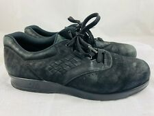 SAS Free Time Charcoal Black Suede Leather 8 N Lace Up Comfort Shoes Sneakers