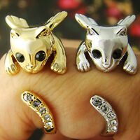Angel Wing Kitty Cat Ring Crystals Adjustable Free Size Gold Silver Kitty Gift