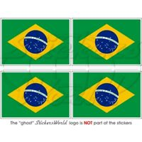 "BRAZILIAN Flag BRASIL Vinyl Bumper Stickers 50mm/2"" x4"