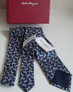 FERRAGAMO Italy Designer Navy Blue Marine Horse Design Silk Tie NEW W/TAGS & BOX