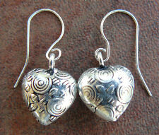 Silver Heart dangle earrings 999 pure silver over copper Hypoallergenic