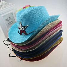 New Fashion Baby Kids Children Boys Girls Straw Western Cowboy Sun Hats Sunwear