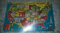 Vintage Built-Rite  Growth of a Nation United States Map Puzzle Inlaid NOS