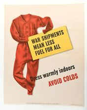 Original 1943 U.S. WWII Poster Avoid Colds War Shipments Mean Less Fuel For All