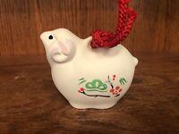 Japanese White Clay Lucky Sheep Suzu Bell Ornament Good Luck Japan