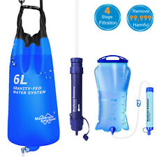 3L/6L Gravity Water Filter Straw Bag Purifier Outdoor Camping Hiking Emergency