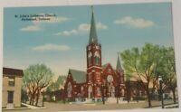 Vintage INDIANA postcard St Johns Lutheran church  Richmond IN 1930s