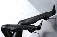 LEDER STIEFEL SCHWARZ 1969 ITALY DAMEN SCHUHE G71 SEXY LEATHER BOOTS HIGH HEELS