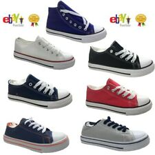 KIDS GIRLS FLAT LACE UP PLIMSOLLS PUMPS CANVAS BOYS CASUAL TRAINERS SHOES SIZE