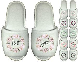 Best Sister Spa Slippers Personalised Peonies Succulents Flowers Friend Mum Nana