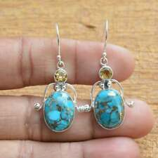 Solid 925 Sterling Silver Blue Copper Turquoise & Citrine Gemstone Earring F730