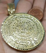 GOLD Aztec Pendant 10k Calendar SOLID REAL diamond cut mayan Sun necklace 2.60""
