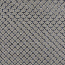 D300 Blue And Beige Fan Woven Jacquard Upholstery Fabric By The Yard