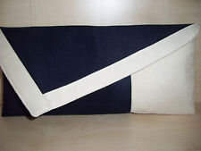 CREAM & NAVY BLUE asymmetrical faux suede clutch bag.  Handmade in the UK.