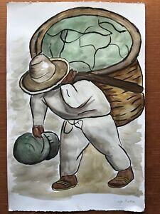 DIEGO RIVERA - Watercolor on original paper of 1940's